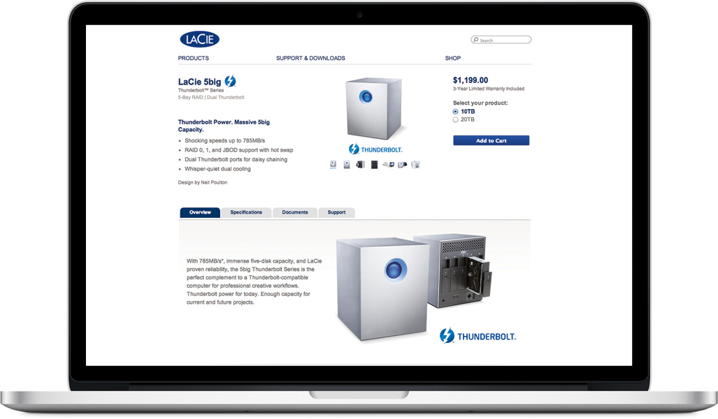 LaCie 5big Thunderbolt™ Series webpage